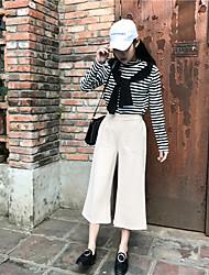 primavera e l'estate è stata ispessita vita sottile di lana settimo jeans dritto sciolti retrò pantaloni gamba larga collant femminile