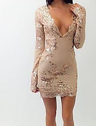 Women's Party Going out Sexy Bodycon Dress,Embroidered Deep V Above Knee Long Sleeves Others Summer Mid Rise Micro-elastic Thin