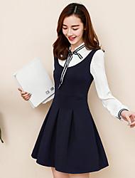 Signe 2017 printemps nouveau arc faux deux à manches longues robe pré-collier jupe plissée était mince