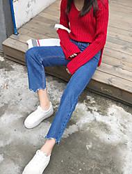 Подписать корейский потерять значительную долговязый талии широкие ножки стрижка краев лепестков джинсовые колготки два цвета в