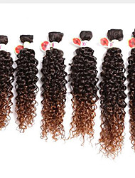 afro kinky Curly Hair Extension 6pieces Machine Weft Jerry Curl Hair Weave 14 16 18inch NoTangle synthetic bundles jerry curl hair extensions