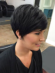 cheap -Perfect Fluffy Black Short Hair Human Hair Wig Suitable For All Kinds Of People