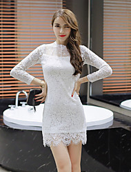 Women's Evening Party Cocktail Party Wedding Party Date Sexy Cute A Line Dress,Solid Color Round Neck Above Knee, Mini Long Sleeve Lace