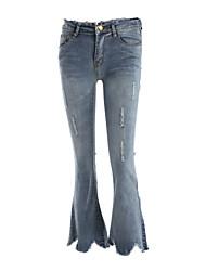 Feminino Vintage Cintura Alta Micro-Elástico Chinos Calças,Reto Cor Única