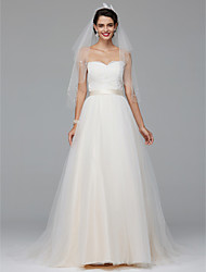cheap -A-Line Sweetheart Court Train Tulle Wedding Dress with Appliques by LAN TING BRIDE®