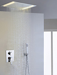 cheap -Contemporary Shower System Rain Shower Handshower Included LED Ceramic Valve Two Handles Three Holes Chrome , Shower Faucet
