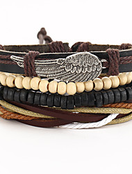 cheap -Men's Women's Leather Wrap Bracelet - Vintage Gothic Wings / Feather Black Bracelet For Special Occasion Gift