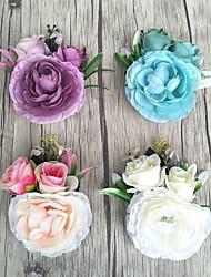 baratos -Bouquets de Noiva Forma-Livre Rosas Alfinetes de Lapela Casamento Festa / noite Cetim