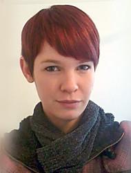 Chic recto en capas de pelo rojo corto peluca de pelo sin tapa cap peluca resistente al calor para las mujeres 2017