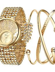 baratos -Mulheres Relógio de Pulso Legal Aço Inoxidável Banda Amuleto / Luxo / Brilhante Dourada