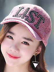 Women Sequin Letter Printed Cotton Cloth Dome Baseball Warm Tourism Cap