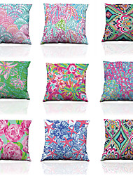 Set of 9 Polyester Imitation silk pattern Linen Pillowcase Sofa Home Decor Cushion Cover