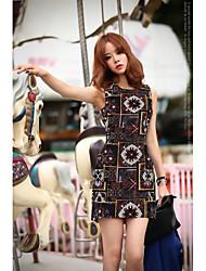 Coreano versão do maduro luz vento impressão digital Jacquard cintura vestido