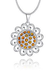 cheap -Women's Circle Luxury Unique Design Logo Style Dangling Style Pendant Necklace Synthetic Diamond Sterling Silver Rhinestone Imitation