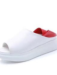 Недорогие -Для женщин Тапочки и Шлепанцы Сандалии Удобная обувь Полиуретан Весна Лето Повседневные Удобная обувь На плоской подошвеЧерный Красный