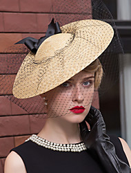 cheap -Basketwork / Net Fascinators / Hats with Flower 1pc Wedding / Special Occasion / Casual Headpiece