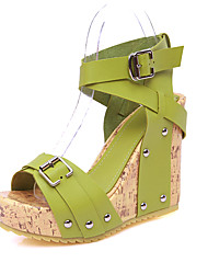 cheap -Women's Shoes PU Summer Fall Gladiator Comfort Sandals Walking Shoes Wedge Heel Open Toe Rivet Buckle for Athletic Beige Yellow Green