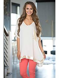 ebay aliexpress desiderano donne europee e americane&# 39; s girocollo cuciture sciolti a maniche corte maglietta del bordo del