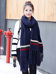 Women Winter Two-color Stripe Solid Color Tassel Knitting Thicken Students Scarf