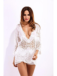 Women's Going out Beach Holiday Sexy Street chic Spring Summer Shirt,Solid Jacquard V Neck ¾ Sleeve Others Translucent