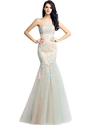 cheap -Mermaid / Trumpet Strapless Floor Length Lace Tulle Formal Evening Dress with Lace by Sarahbridal
