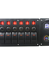 IZTOSS red led DC12V 6 Gang on-off rocker switch curved panel led 3.1A USB 12V voltmeter sockets and circuit breaker with label stickers for boat mar