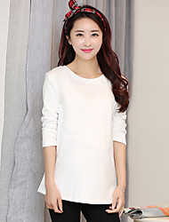 Women's New Baby Daily Indoor Simple Summer T-shirt,Solid Color Round Neck Long Sleeves Cotton Medium