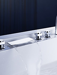 cheap -Contemporary  with  Chrome Three Handles Five Holes  ,  Feature  for Waterfall Widespread Pull out