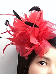 cheap -Feather Net Fascinators Flowers Headwear Hair Clip with Floral 1pc Wedding Special Occasion Casual Headpiece