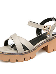 Women's Sandals Comfort Slingback Leatherette Spring Summer Casual Dress Comfort Slingback Rhinestone Buckle Hollow-outChunky Heel Block