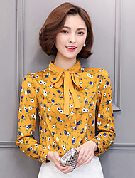 Sign 2017 spring women chiffon blouse shirt lace collar long-sleeved chiffon shirt printing fight backing