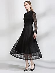 Подписать сейчас торговли взрыва моделей в Европе и Америке листья ажурные кружева платье длинный рукав воротник большой качели