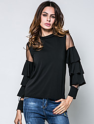 Women's New Baby Dailywear Shopping Daily Date Club Festival Sexy Summer T-shirt,Sexy Round Neck Long Sleeves N/A Medium