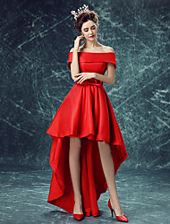 cheap -A-Line Off-the-shoulder Asymmetrical Satin Cocktail Party Dress with Bow(s) by XFLS