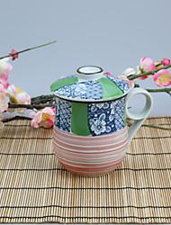 Tazza giapponese della porcellana ad alta temperatura verniciata a mano con cappuccio 320ml
