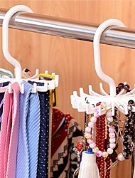 Adjustable 20 Hook Rotating Belt Rack Scarf Organizer Men Tie Hanger Holds Random Color
