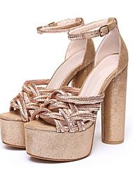 Feminino-Sandálias-Sapatos clube-Salto Grosso-Dourado Preto Prateado Champanhe-Tecido-Social Casual Festas & Noite