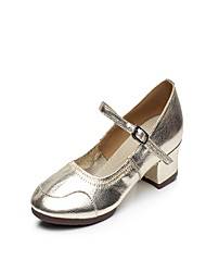 """Women's Latin Leather Split Sole Indoor Buckle Stitching Lace Low Heel Gold 1"""" - 1 3/4"""" Non Customizable"""