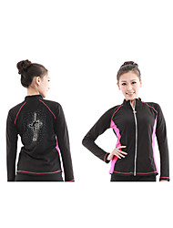 cheap -Women's Kid's Ice Skating Tracksuit Black/Blue Black/Pink Velvet Skating Wear Long Sleeves Skating