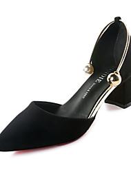 cheap -Women's Heels Comfort Suede Spring Casual Comfort Imitation Pearl Chunky Heel Black Light Brown 2in-2 3/4in