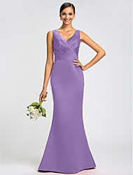 cheap -Mermaid / Trumpet V Neck Sweep / Brush Train Satin Open Back Dress with Sash / Ribbon / Criss Cross by LAN TING BRIDE®