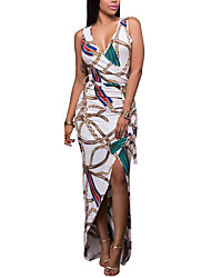 Women's Party Going out Club Vintage Sexy Street chic Bodycon Dress,Print Deep V Maxi Sleeveless Polyester Spring Summer High Rise