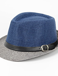 cheap -Men's Casual Linen Fedora Hat - Patchwork