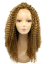 cheap -Synthetic Lace Front Wig Kinky Curly African American Wig Blonde Women's Lace Front Natural Wigs Medium Synthetic Hair