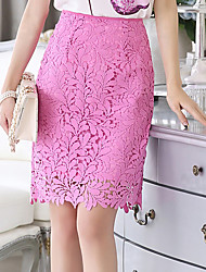 Women's Above Knee Skirts Bodycon Solid