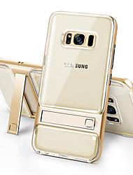 Недорогие -Кейс для Назначение SSamsung Galaxy S8 Plus S8 Защита от удара со стендом Прозрачный Кейс на заднюю панель Сплошной цвет Твердый ТПУ для