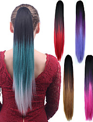 Long Straight Mix color Ponytail Women Synthetic Cheap Cosplay Party Hair Extension