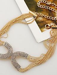 Dámské Obojkové náhrdelníky imitace drahokamu Circle Shape Postříbřené Pozlacené Módní Zlatá Stříbrná Šperky ProPárty Zvláštní