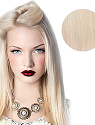 baratos -9pcs / set deluxe clipe loira 120g # 60 platium loiro cinza em extensões do cabelo 16inch 20inch 100% cabelo humano em linha reta