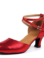 """cheap -Women's Latin Leatherette Sandal Indoor Buckle Chunky Heel Gold Black Silver Red 1"""" - 1 3/4"""" Non Customizable"""